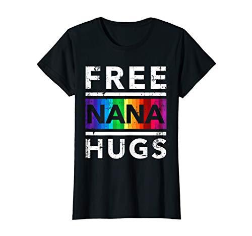 Womens Free Nana Hug LGBT Pride Month Grandma Nana Cute Tshirt