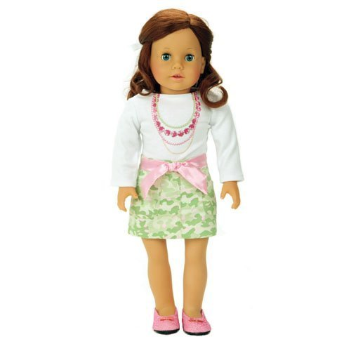 - 18 Inch Doll Outfit 2 Pc Set Fits 18 Inch American Girl Doll Clothing & More! (Doll Shoes sold separately) Sophia's Doll Clothes Set of Green/Pink Camouflage Skirt Set