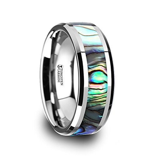 MAUI Tungsten Wedding Band with Mother of Pearl Inlay - 8mm by Thorsten