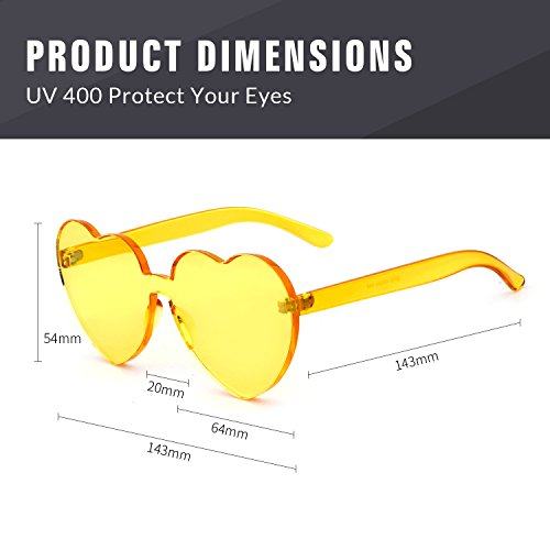 Love Heart Shape Sunglasses Women Rimless Frame Colorful SunGlasses by ADEWU (Image #2)