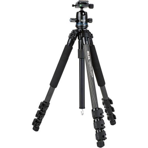 Slik PRO 724CBH 4-Section Carbon Fiber Tripod with PBH-525DS Ball Head, 8.8 lbs Capacity, 66