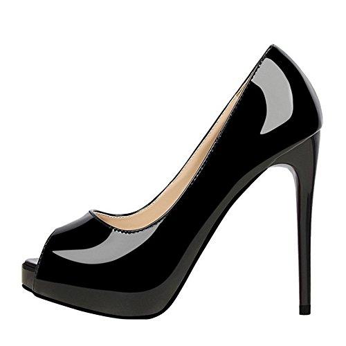 Escarpins Haut Black Chaussures Sandals Sexy Mariage Rond En De Stiletto 12cm Party Cuir Femmes De Toe Cour Stiletto Talon Peep Les Lacet EwPR7q4T
