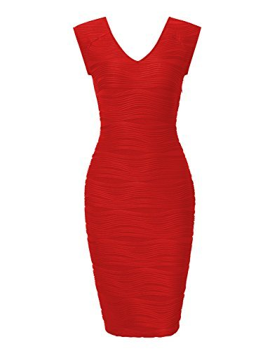 HiQueen Ladies Sleeveless Pencil Dress V-Collar Cocktail Bodycon Dress Red M ()
