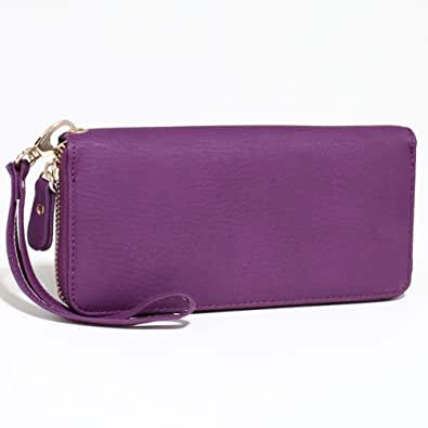 Dasein Women's Fashion Zip-Around Wallet w/ Detachable Wristlet Strap - Purple