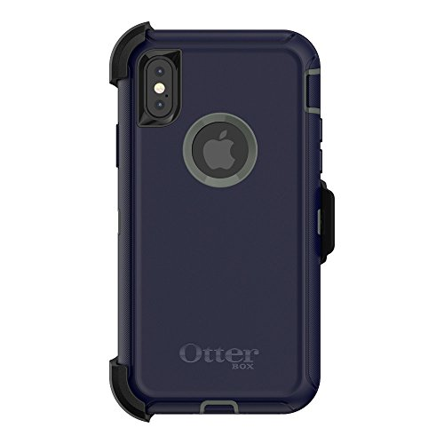 OtterBox Defender Series Screenless Edition Case & Holster for iPhone X/Xs (Renewed) - Stormy Peaks (Agave Green/Maritime Blue)