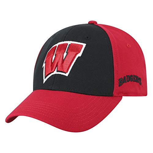 Top of the World NCAA-Premium Two Tone-One-Fit-Memory Fit-Hat Cap-Wisconsin -
