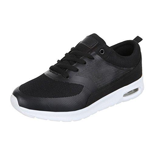 Ital-Design Damen Schuhe, 118-1, Freizeitschuhe Sneakers Turnschuhe Schwarz