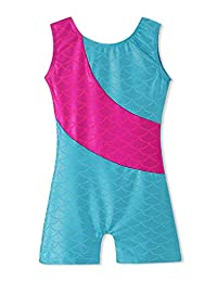 Colorful Ribbons Mermaid Rainbow Gymnastics Biketard Shortall for Little Girl