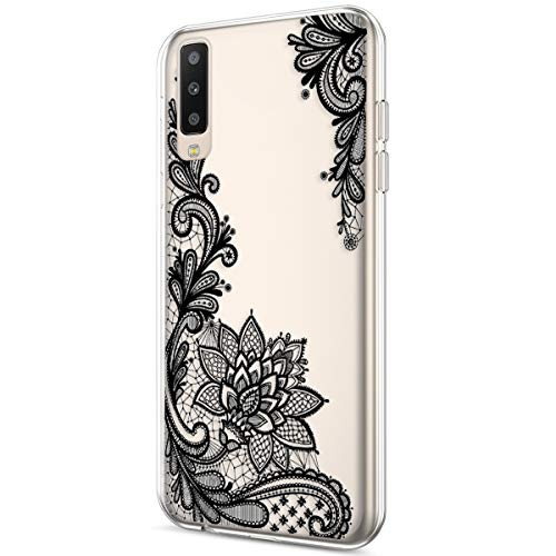 Price comparison product image ikasus Case for Galaxy A50, Crystal Clear Art Panited Design Soft & Flexible TPU Ultra-Thin Transparent Soft Rubber Gel TPU Protective Case Cover for Galaxy A50 Silicone Case, Black mandala flower A