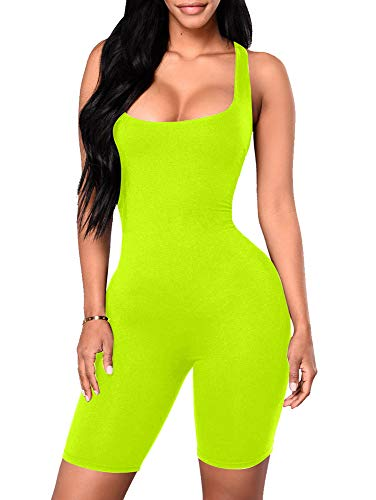 YMDUCH Women's Sexy One Piece Tank Top Backless Bodycon Club Short Jumpsuit Fluo - Women Sexy Spandex