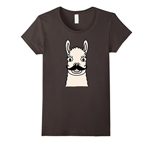 [Women's Emoji Animals - Llama Mustache Funny Hipster Shirt Large Asphalt] (Cute Female Nerd Costumes)