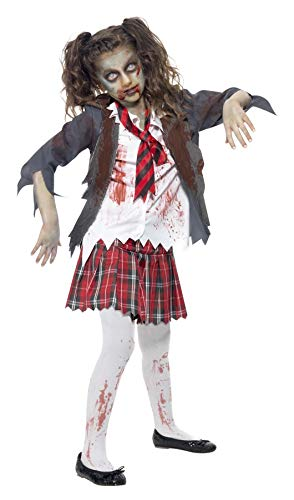 Smiffy's Zombie School Girl Costume, Grey, M - US Age 7-9 Years ()