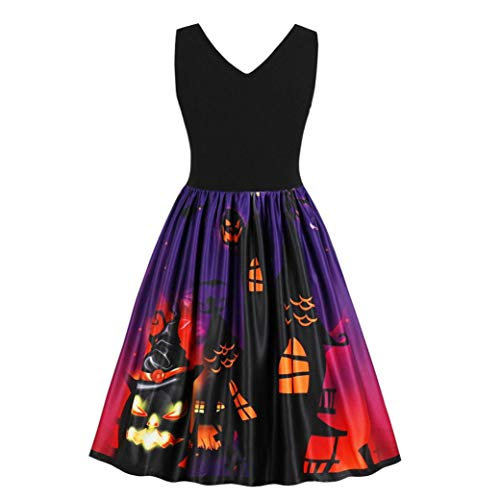 iYBUIA Summer Autumn Women Sleeveless Vintage Pumpkins Halloween Evening Prom Costume Swing Dress(Purple,M) -
