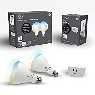 C by GE Smart Flood Light Bulbs + Smart Plug (2 LED Tunable White BR30 Smart Light Bulbs + Smart Plug That Works with Alexa), Google Home and Alexa, Light Bulbs, Bluetooth Light Bulbs