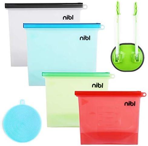 Nibl - Bolsas de silicona reutilizables para almacenamiento de ...