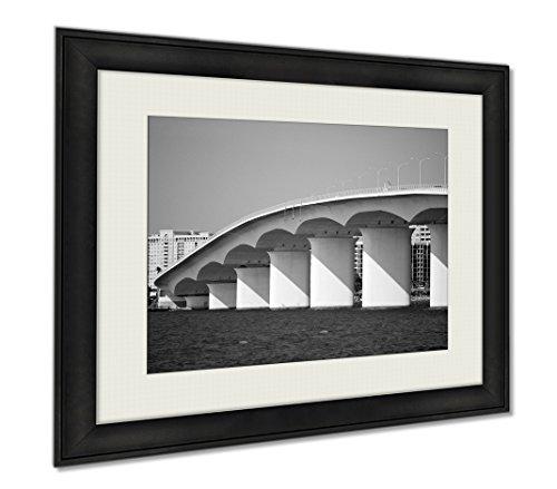 Ashley Framed Prints Ringling Bridge 2, Wall Art Home Decoration, Black/White, 34x40 (frame size), - Crossing Downtown Shops In
