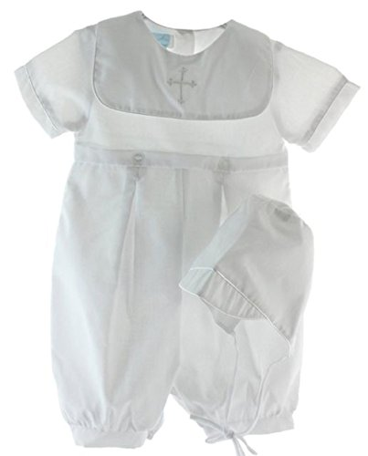 Baby Boys Baptism Romper and Hat with Embroidered Cross (9 Months)