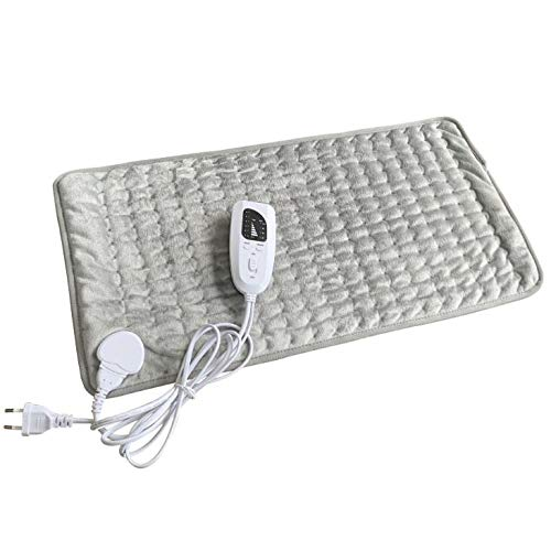 Electric Heating Pad for Back Pain Relief, Heat Pad with 6 Temperature Setting, 4 Timer Settings Machine Washable Home Office Use,Gray (Left Shoulder And Neck Pain Causing Headaches)