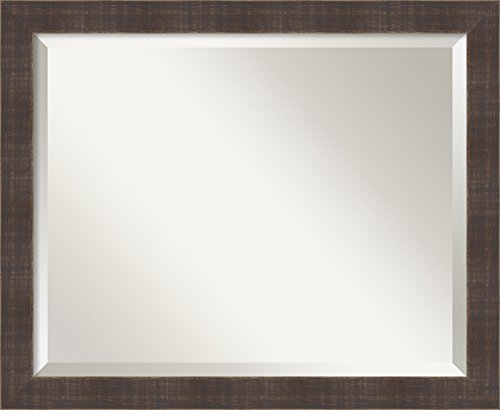 Wall Mirror Medium, Whiskey Brown Rustic Wood: Outer Size 22 x 18″