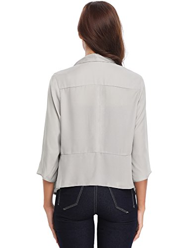 4 Chic Basic 3 Cardigan Châle Boléro Gris Blazer De Mousseline Veste Manches Noir Elégant Gilet Soiree Court Blanc Femme En ngAS1S