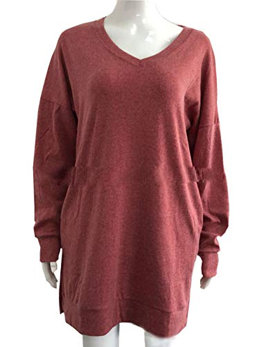 Sweat Tee Tunique T Col Pullover Robes Hauts Long Automne Shirt Mode Pulls V Tops Manches Shirts Longues Printemps Jumpers Rouge Mini Chandail Femmes Casual JackenLOVE xBvIqZwR