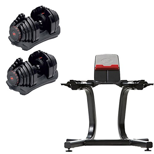 Bowflex SelectTech 1090 Adjustable Dumbbell (Pair) + Storage Stand w/Media Rack by Bowflex