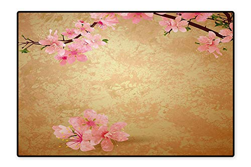 Water-Repellent Rugs Cherry Blossom Sakura Branch on Vintage Grunge Background Spring Light Brown Baby Pink Anti Bacterial 6'6