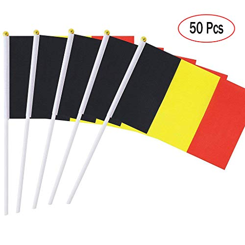Belgian Flag Stick, International Flags on Sticks Hand Held