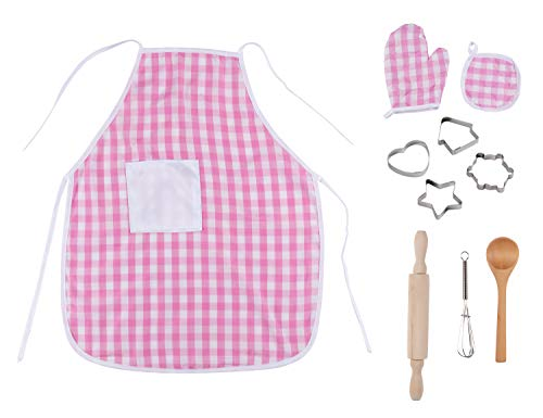 Juvale Kids Cooking and Baking Set - 10-Piece Kitchen Toys and Dress-Up for Girls, Includes Pink Apron, Mitts, and Complete Essentials, Kids 3 Years Old and Up from Juvale