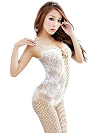 Amour - Women's Industrial Net Crotchless Bodystocking