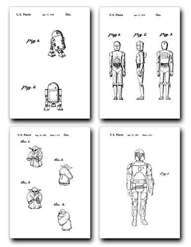 Star Wars Patent Print Set of Four Art Posters - White Matte