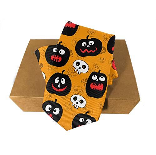 Halloween Polyester Neckties, Formal Slim Pumpkins Skull Head Necktie, Men & Boys Slim Suit Outfit Ties, Elegant and Smooth for Bridegroom, Wedding Party Decoration Gift Ties