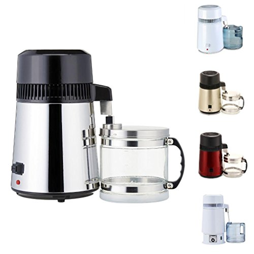 Home 110V / 220V 750W 304 Stainless Steel Water Purifier/Distillation 4L Pure Water Maker/Distiller Set with Connection Bottle, also can Make Essential Oil by WMN_TRULYSTEP