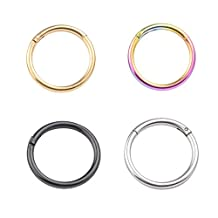 DS 2-5pcs 16G Stainless Steel TINY Hinged Continuous Segment Ring Hoop Sleeper Earrings Body Piercing 10mm