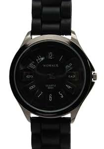 WOMAGE Único Negro Rueda Marcar Relojes Correa Caucho