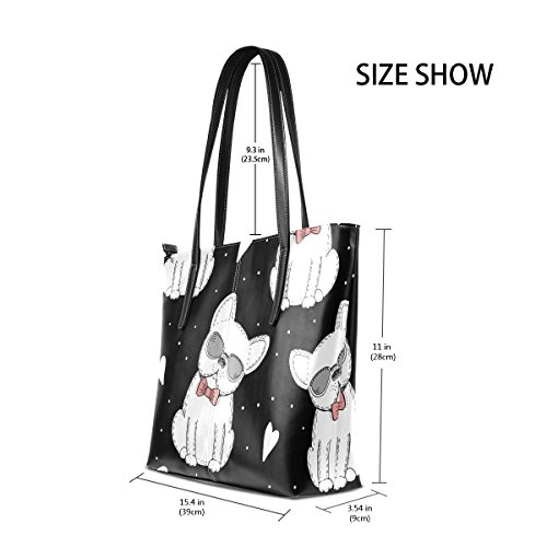 Women's Leather Handbag Totes Love PU Shoulder Dogs Fashion Handle Bags Black Purses White Top TIZORAX wqYZIx