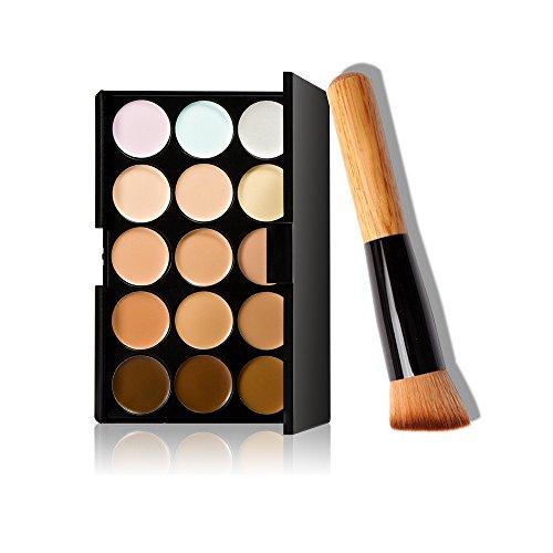 Fullkang 15 Colors Makeup Concealer Contour Palette + Makeup Brush