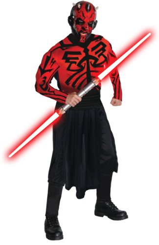 Darth Maul Halloween Costumes (Star Wars Adult Deluxe Darth Maul Muscle Chest Costume And Mask, Red/Black, Standard)
