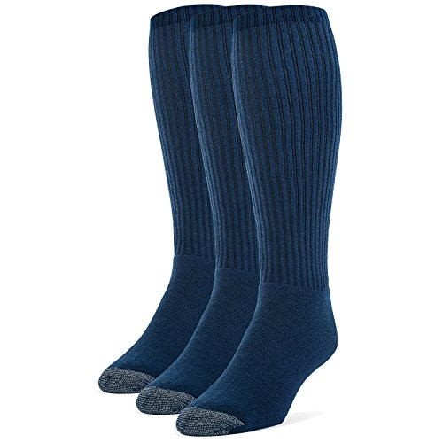 Galiva Men's Cotton Extra Soft Over the Calf Cushion Socks - 3 Pairs, Large, Navy Blue