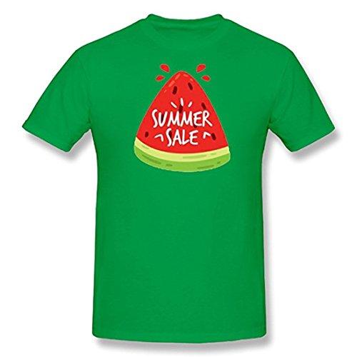 Watermelon in summer men round collar fashion short sleeve T-shirt (XXXL, green) by shyrs
