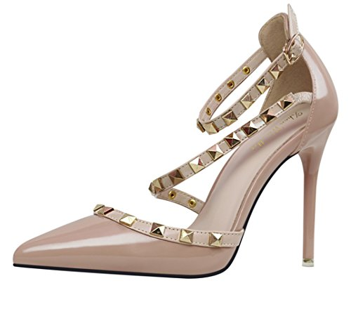 Studded Ankle Cuff (MAKEGSI Sexy Girl Thin High Heel Sandals Rivet Studded Ankle Cuff Cross-Strap Shoes Dress Pumps (8, nude))