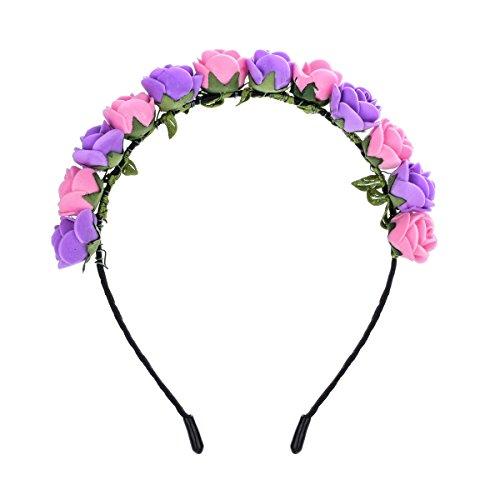 Love Sweety Boho Floral Crown Rose Flower Headband Hair Wreath (Pink Purple)