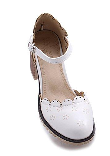 con Scarpe Bianco cinturino UH alla Donna caviglia qFx5ddYwE