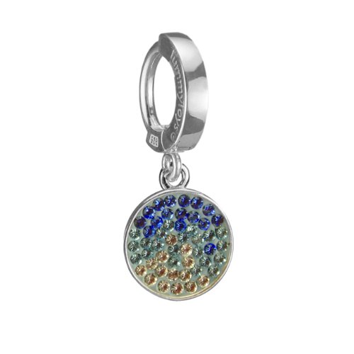 Silver Belly Ring with Blue Sapphire Swarovski Disc Charm by TummyToys
