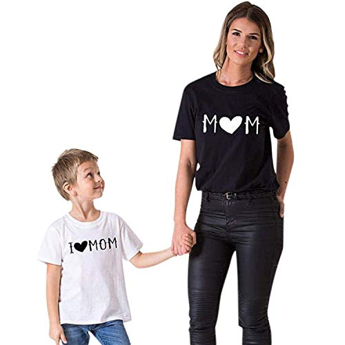 Yoyorule Mom&Me Baby Parent-Child I Love Mom Letter Printed T Shirt Family Clothes Outfits (Kid 6T, White) -