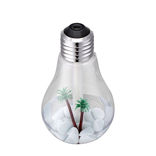 EAWE Cool Mist Ultrasonic Humidifier, 400ml LED Color Changing Bulb USB Mini Humidifier, Air Purifier Atomizer, With Colorful Night Lights for Household Office Bedroom Car Kids Party (silver)