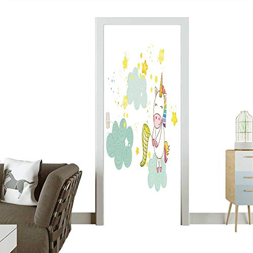 Homesonne Door Decals Baby Shower or Arrival Card Cute Unicorn Girl in Vector Pressure Resistant W36 x H79 INCH for $<!--$45.99-->