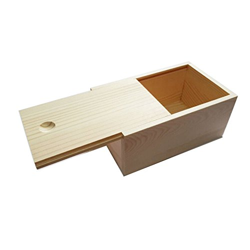 StarMall Wooden Unfinished Storage Box with Slide Top (Wooden Box)
