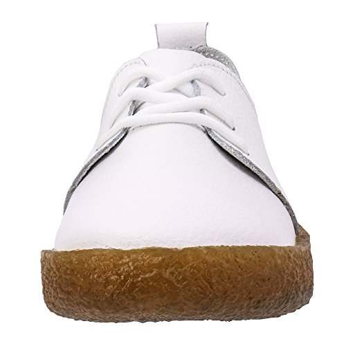 Round Leather Comfortable Women's On White907 Slip Walking Shoes Flat Zefani Loafers Toe Summer 58Edwq87x