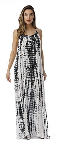 Riviera Sun 21820-WB-1X Summer Dresses Maxi Dress Sundresses for Women White/Black